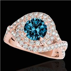 2 CTW SI Certified Blue Diamond Solitaire Halo Ring 10K Rose Gold - REF-236H4W - 33879