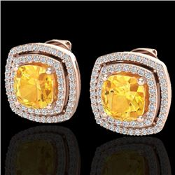 3.55 CTW Citrine And Micro Pave VS/SI Diamond Halo Earrings 14K Rose Gold - REF-84X8T - 20159