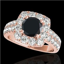 2.5 CTW Certified Vs Black Diamond Solitaire Halo Ring 10K Rose Gold - REF-126M2F - 33647