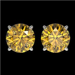2.04 CTW Certified Intense Yellow SI Diamond Solitaire Stud Earrings 10K White Gold - REF-309M3F - 3