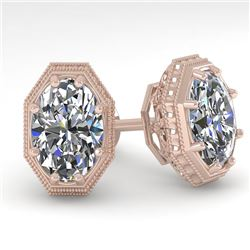 2 CTW VS/SI Oval Cut Diamond Stud Earrings 18K Rose Gold - REF-499X3T - 35981