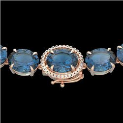 177 CTW London Blue Topaz & VS/SI Diamond Halo Micro Necklace 14K Rose Gold - REF-563Y5N - 22302