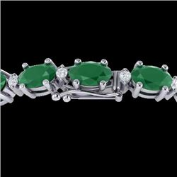 23.5 CTW Emerald & VS/SI Certified Diamond Eternity Bracelet 10K White Gold - REF-143H6W - 29366