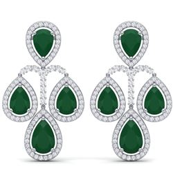 29.23 CTW Royalty Emerald & VS Diamond Earrings 18K White Gold - REF-509X3T - 39360
