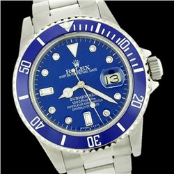 Rolex Men's Submariner, QuickSet, Diam Dial w/ Rotatable Blue Insert Bezel - REF-649X3A