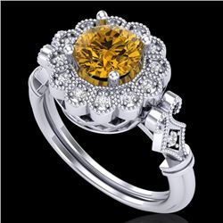 1.2 CTW Intense Fancy Yellow Diamond Engagement Art Deco Ring 18K White Gold - REF-218X2T - 37833