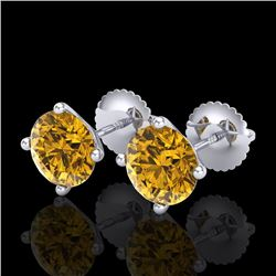 2.5 CTW Intense Fancy Yellow Diamond Art Deco Stud Earrings 18K White Gold - REF-354H5W - 38253