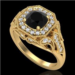 1.75 CTW Fancy Black Diamond Solitaire Engagement Art Deco Ring 18K Yellow Gold - REF-136Y4N - 38278