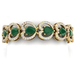 32.15 CTW Royalty Emerald & VS Diamond Bracelet 18K Yellow Gold - REF-690K9R - 38687