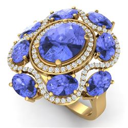 9.67 CTW Royalty Tanzanite & VS Diamond Ring 18K Yellow Gold - REF-245T5X - 39302