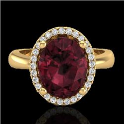 2.50 CTW Garnet And Micro Pave VS/SI Diamond Certified Ring Halo 18K Yellow Gold - REF-50K2R - 21107