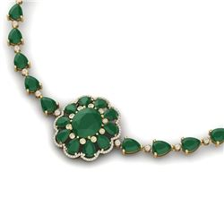 78.98 CTW Royalty Emerald & VS Diamond Necklace 18K Yellow Gold - REF-763F6M - 39170