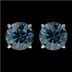 2 CTW Certified Intense Blue SI Diamond Solitaire Stud Earrings 10K White Gold - REF-249H6W - 36652