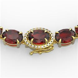 45.25 CTW Garnet & VS/SI Diamond Eternity Tennis Micro Halo Necklace 14K Yellow Gold - REF-209T3X -