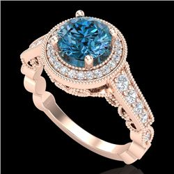 1.91 CTW Fancy Intense Blue Diamond Solitaire Art Deco Ring 18K Rose Gold - REF-263R6K - 37685
