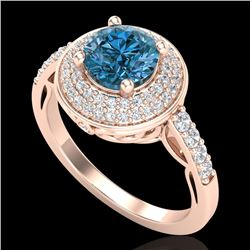 1.7 CTW Intense Blue Diamond Solitaire Engagement Art Deco Ring 18K Rose Gold - REF-254W5H - 38126