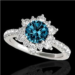 2.19 CTW SI Certified Fancy Blue Diamond Solitaire Halo Ring 10K White Gold - REF-259Y3N - 33720