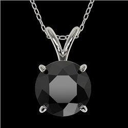 1.50 CTW Fancy Black VS Diamond Solitaire Necklace 10K White Gold - REF-41T3X - 33223