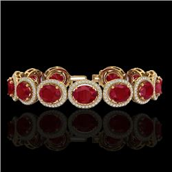30 CTW Ruby & Micro Pave VS/SI Diamond Certified Bracelet 10K Yellow Gold - REF-454K5R - 22696