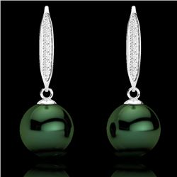 0.18 CTW Micro VS/SI Diamond Certified & Peacock Pearl Earrings 18K White Gold - REF-34R5K - 22635