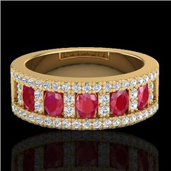 2.34 CTW Ruby & Micro Pave VS/SI Diamond Designer Inspired Ring 10K Yellow Gold - REF-67F3M - 20827
