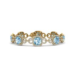 30 CTW Topaz & VS/SI Diamond Certified Bracelet 14K Yellow Gold - REF-368N9Y - 23034