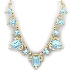 79.56 CTW Royalty Sky Topaz & VS Diamond Necklace 18K Yellow Gold - REF-945W5H - 38756