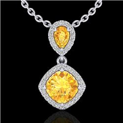 2.63 CTW Citrine & Micro VS/SI Diamond Necklace Designer Halo 10K White Gold - REF-47M3F - 20542
