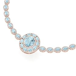 45.12 CTW Royalty Sky Topaz & VS Diamond Necklace 18K Rose Gold - REF-836Y4N - 39286