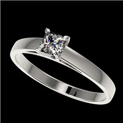 0.50 CTW Certified VS/SI Quality Princess Diamond Solitaire Ring 10K White Gold - REF-77R6K - 32965