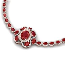 47.43 CTW Royalty Ruby & VS Diamond Necklace 18K Rose Gold - REF-981R8K - 39331