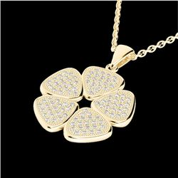 0.80 CTW Micro Pave VS/SI Diamond Certified Designer Necklace 14K Yellow Gold - REF-69M6F - 22603