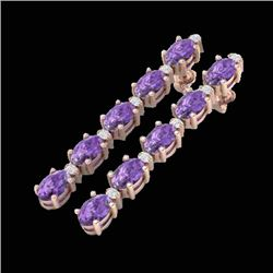 15.47 CTW Amethyst & VS/SI Certified Diamond Tennis Earrings 10K Rose Gold - REF-75W6H - 29470
