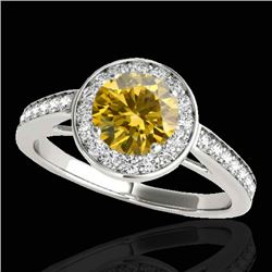 1.45 CTW Certified Si Fancy Intense Yellow Diamond Solitaire Halo Ring 10K White Gold - REF-209M3F -
