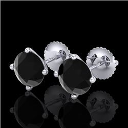 2.5 CTW Fancy Black Diamond Solitaire Art Deco Stud Earrings 18K White Gold - REF-81R8K - 38248
