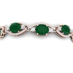 22.15 CTW Royalty Emerald & VS Diamond Bracelet 18K Rose Gold - REF-418X2T - 38959