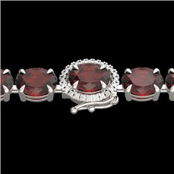 32 CTW Garnet & VS/SI Diamond Eternity Tennis Micro Halo Bracelet 14K White Gold - REF-119M5F - 2342