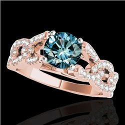 1.5 CTW SI Certified Fancy Blue Diamond Solitaire Ring 10K Rose Gold - REF-180K2R - 35220