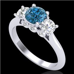 1.5 CTW Intense Blue Diamond Solitaire Art Deco 3 Stone Ring 18K White Gold - REF-174R5K - 38265