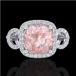 2.75 CTW Morganite & Micro VS/SI Diamond Certified Ring 18K White Gold - REF-83R3K - 23006
