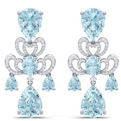 60.32 CTW Royalty Sky Topaz & VS Diamond Earrings 18K White Gold - REF-400M2F - 38679