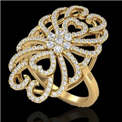 2.25 CTW Micro Pave VS/SI Diamond Designer Inspired Ring 18K Yellow Gold - REF-191X3T - 20888