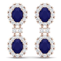 8.98 CTW Royalty Sapphire & VS Diamond Earrings 18K Rose Gold - REF-218R2K - 38815