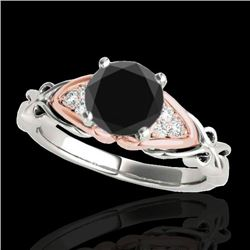 1.1 CTW Certified Vs Black Diamond Solitaire Ring Two Tone 10K White & Rose Gold - REF-53W3H - 35204