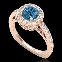 1.55 CTW Fancy Intense Blue Diamond Solitaire Art Deco Ring 18K Rose Gold - REF-178T2X - 37986