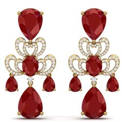 58.73 CTW Royalty Designer Ruby & VS Diamond Earrings 18K Yellow Gold - REF-636H4W - 38675