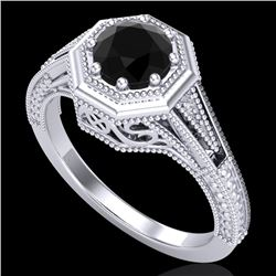 0.84 CTW Fancy Black Diamond Solitaire Engagement Art Deco Ring 18K White Gold - REF-89X3T - 37926