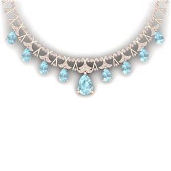 60.62 CTW Royalty Sky Topaz & VS Diamond Necklace 18K Rose Gold - REF-945K5R - 38710