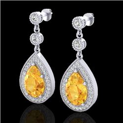 4.50 CTW Citrine & Micro VS/SI Diamond Certified Earrings Designer 18K White Gold - REF-67T5X - 2311