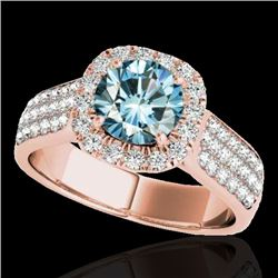 1.8 CTW SI Certified Fancy Blue Diamond Solitaire Halo Ring 10K Rose Gold - REF-209M3F - 34066